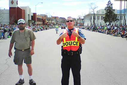 Officer Irwin Paladino and St Patrick's Day gnome
