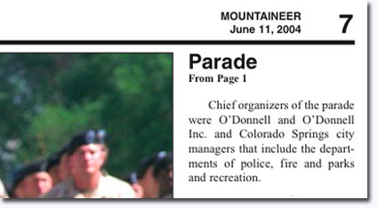 Article detailing O'Donnell organizing of the 2004 welcome home parade