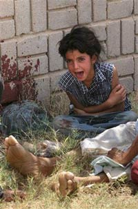 Iraqi girl whose father has just been killed at a checkpoint