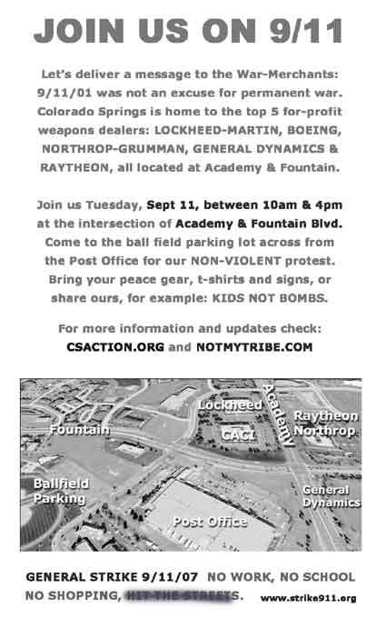 Flier for 911 vigil, minus mention of taking to the streets