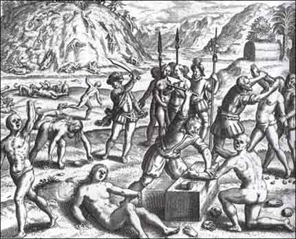Arawak Indians who did not collect enough gold for Columbus had both their hands cut off. Notice the hills strewn with bodies