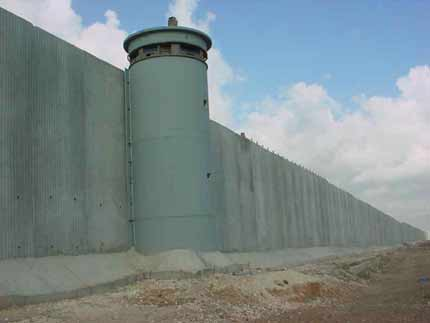 Security fence barrier wall intended to keep people from crossing