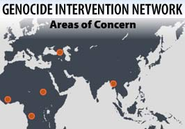 Areas of concern for the Genocide Intervention Network exclude Iraq and Palestine