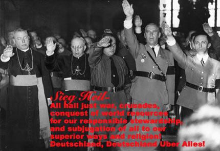 Catholic priests give the Nazi salute.