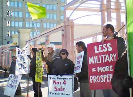 See more pics of protesting the Fort Carson expansion town hall meeting on January 14, 2008