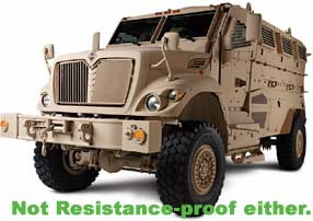 Mine resistant troop shuttle bus deployed to Iraq.