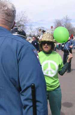 Mary Sprunger-Froese brings balloon to bear against the St Patricks Day batons