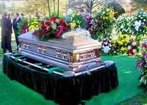 Garish funeral casket