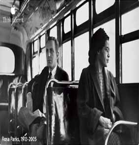 Rosa Parks photographed after the Montgomery Bus Boycott, posed with newspaper reporter