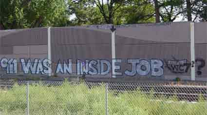 Graffiti along expressway says 911 WAS AN INSIDE JOB