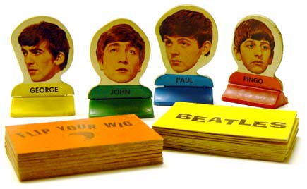 FLIP YOUR WIG game pieces George Harrison, John Lennon, Paul McCartney and Ringo Starr