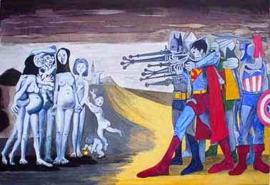 MASSACRE AT HADITHA by Tanya Tier, an interpretation of MASSACRE IN KOREA by Pablo Picasso, about NO GUN RI