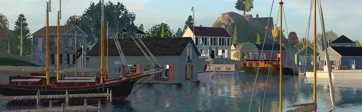 Idyllic harbor in New England