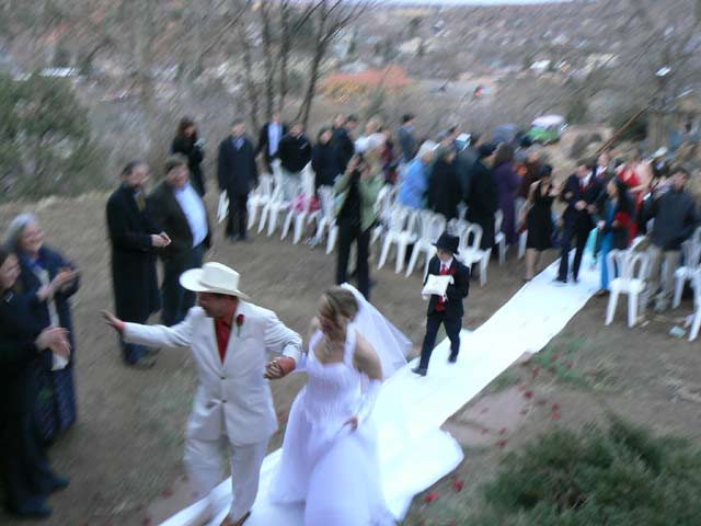 John Weiss and bride bid adieu to the cold