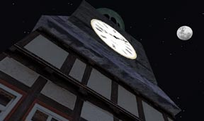 Moon over clock tower Neufreistadt SL