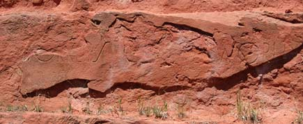 Wobbly engraving in old Red Rock quarry