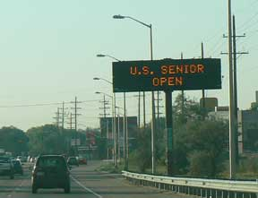 US SENIOR OPEN advertised on Colorado State Highway sign