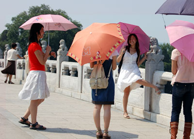 Chinese girls on bridge