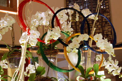 Beijing Hilton Olympic Rings flower display