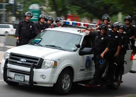 DPD in riot helmets