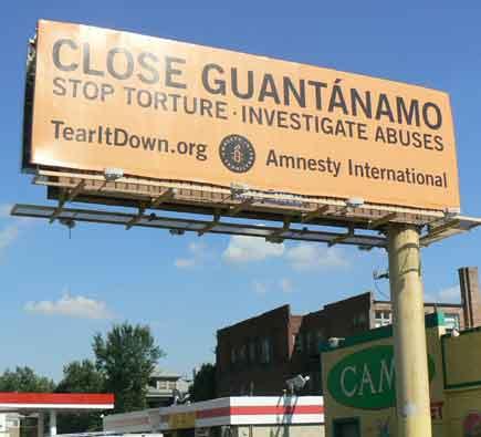 Billboard on Colfax Avenue urges CLOSE GUANTANAMO