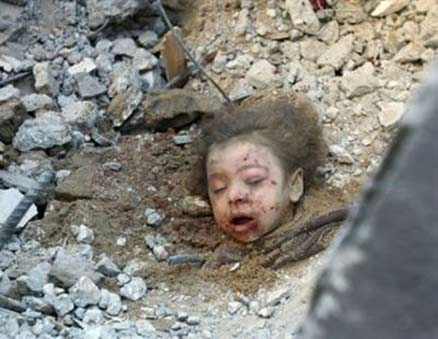 Buried child in Gaza