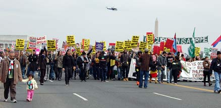 Youth and Student ANSWER Coalition march on the Pentagon March 21