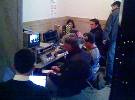 Media gather around video feed from Churchill vs CU trial