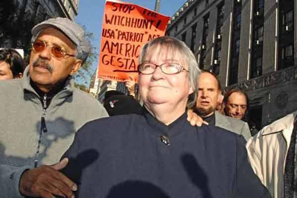 Human rights activist Lynn Steward marches with husband Ralph Pointer