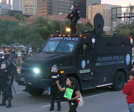 Aurora City Police deploy urban assault vehicle against peaceful demonstration