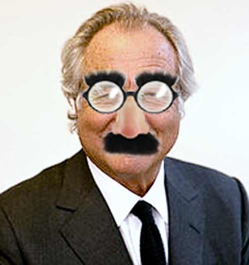 Pnzi scheme financier scam artist in Groucho incognito glasses