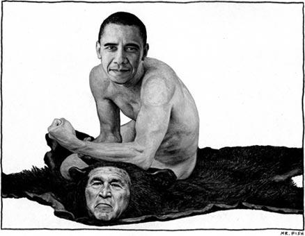 Obama on a Bush rug