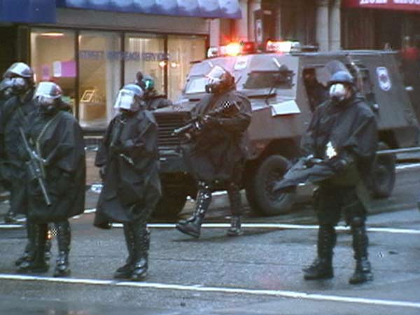 Riot police facing off the RNC demonstrations