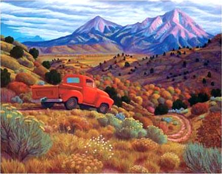 Manitou artist Steve Morathe- Autumn by the Spanish Peaks, the Wahatoya of the Sangre de Cristo Mountains