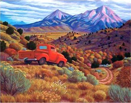 Manitou artist Steve Morathe- Autumn by the Spanish Peaks, the Wahatoya of the Sangre de Cristo Mountains
