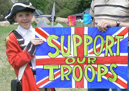 This guy is a really clever con-artist as the troops he's supporting were fighting at Waterloo.