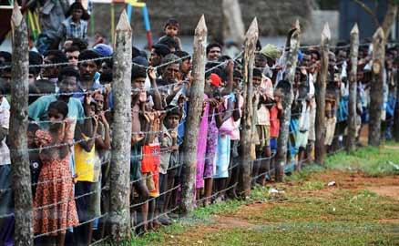 Tamil refugees Kadirgamh camp near Chettikulam