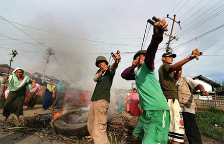 Indian boys firing at police
