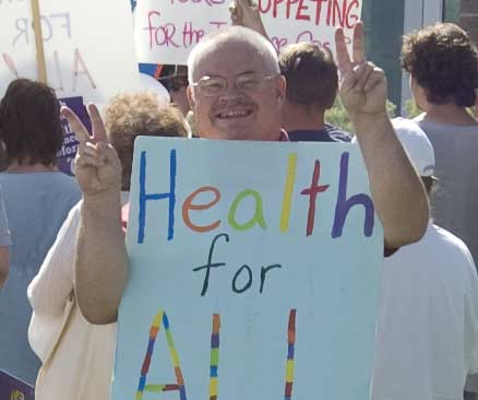 Tony at Healthcare Reform rally at Union Printers Home Sept 2009